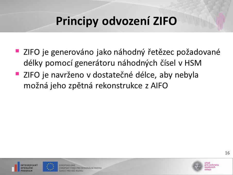 Principy odvození ZIFO  ZIFO je generováno jako náhodný řetězec požadované délky pomocí generátoru náhodných čísel v HSM  ZIFO je navrženo v dostate