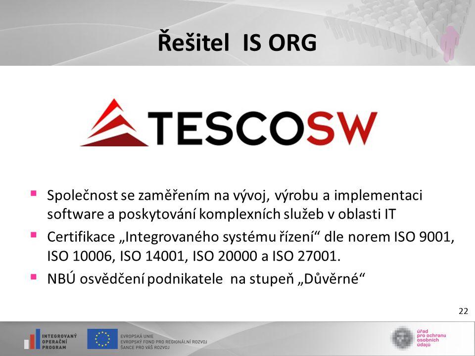 """22 Řešitel IS ORG  Společnost se zaměřením na vývoj, výrobu a implementaci software a poskytování komplexních služeb v oblasti IT  Certifikace """"Inte"""