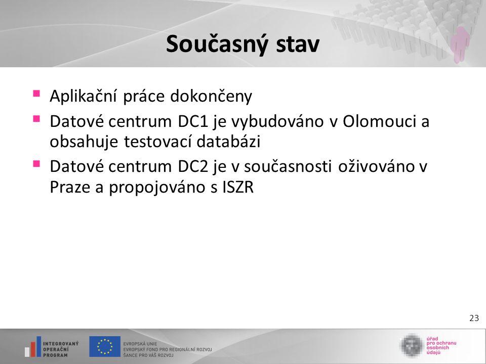 23 Současný stav  Aplikační práce dokončeny  Datové centrum DC1 je vybudováno v Olomouci a obsahuje testovací databázi  Datové centrum DC2 je v sou