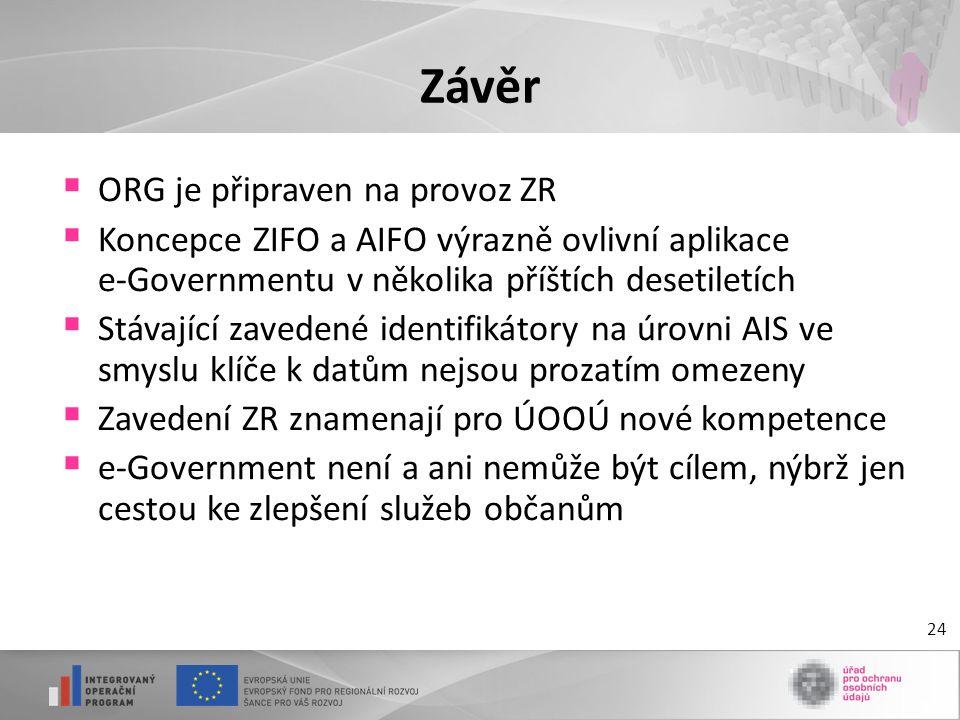 24 Závěr  ORG je připraven na provoz ZR  Koncepce ZIFO a AIFO výrazně ovlivní aplikace e-Governmentu v několika příštích desetiletích  Stávající za