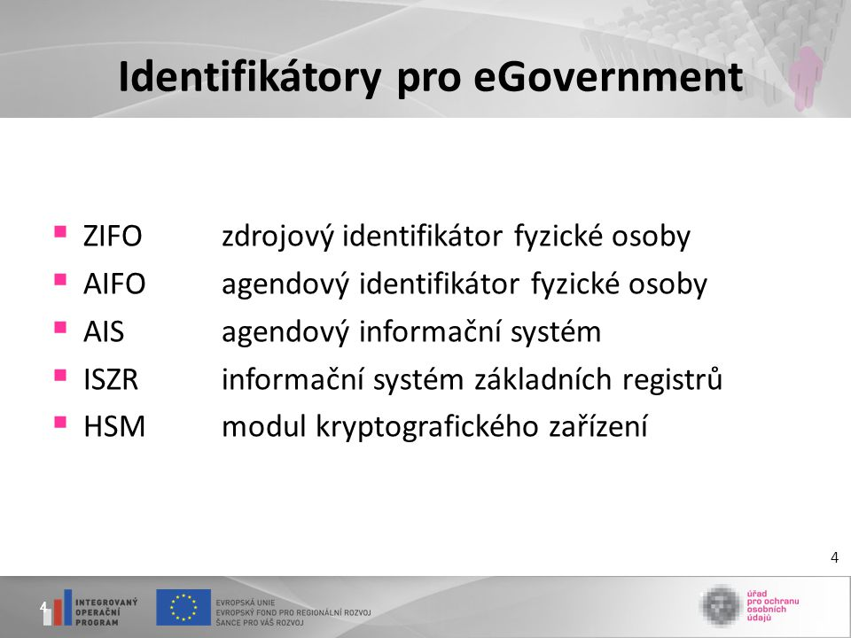 44 Identifikátory pro eGovernment  ZIFOzdrojový identifikátor fyzické osoby  AIFOagendový identifikátor fyzické osoby  AISagendový informační systé