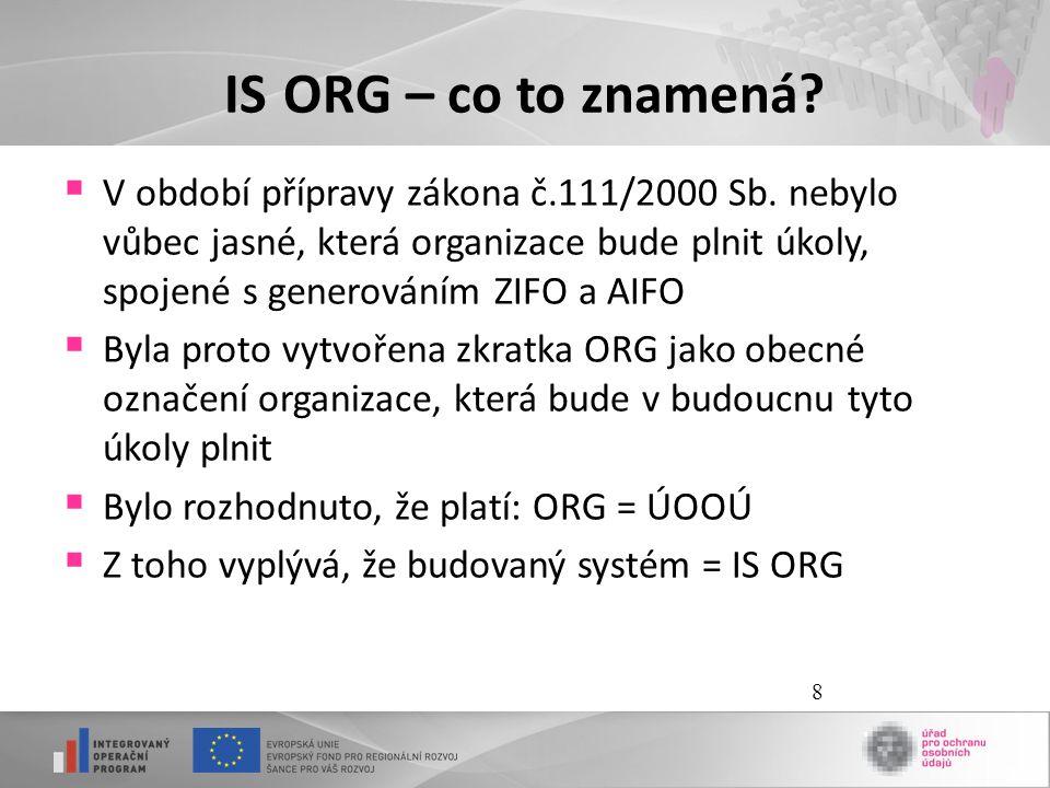 8 IS ORG – co to znamená?  V období přípravy zákona č.111/2000 Sb. nebylo vůbec jasné, která organizace bude plnit úkoly, spojené s generováním ZIFO