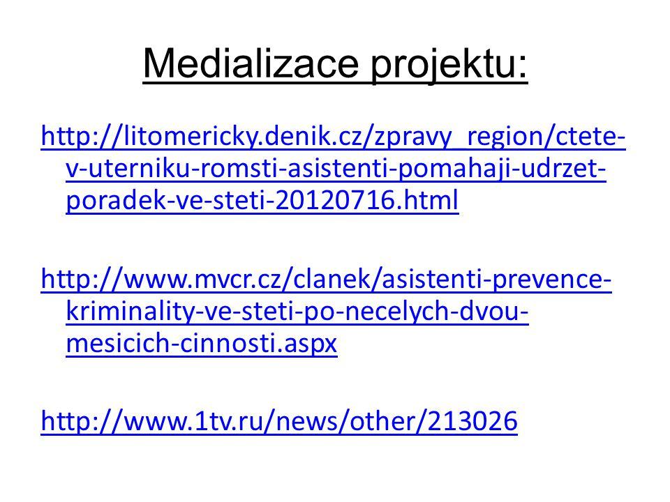 Medializace projektu: http://litomericky.denik.cz/zpravy_region/ctete- v-uterniku-romsti-asistenti-pomahaji-udrzet- poradek-ve-steti-20120716.html http://www.mvcr.cz/clanek/asistenti-prevence- kriminality-ve-steti-po-necelych-dvou- mesicich-cinnosti.aspx http://www.1tv.ru/news/other/213026