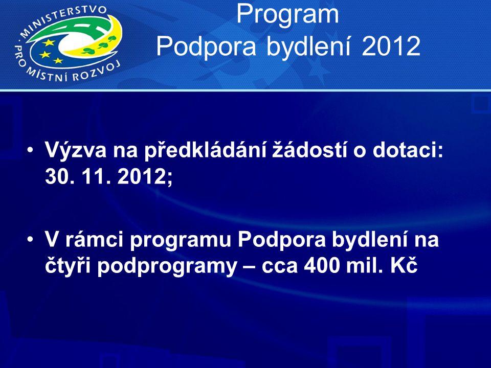 Program Podpora bydlení 2012 •Výzva na předkládání žádostí o dotaci: 30. 11. 2012; •V rámci programu Podpora bydlení na čtyři podprogramy – cca 400 mi