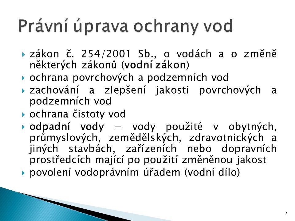  zákon č. 254/2001 Sb., o vodách a o změně některých zákonů (vodní zákon)  ochrana povrchových a podzemních vod  zachování a zlepšení jakosti povrc