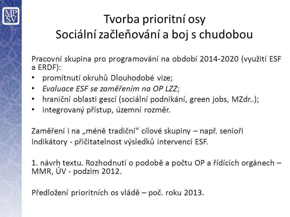 Tvorba prioritní osy Sociální začleňování a boj s chudobou Pracovní skupina pro programování na období 2014-2020 (využití ESF a ERDF): • promítnutí ok