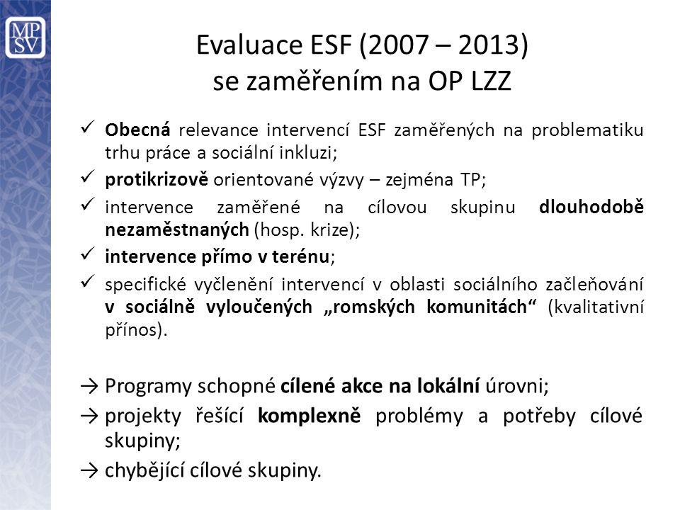Evaluace ESF (2007 – 2013) se zaměřením na OP LZZ  Obecná relevance intervencí ESF zaměřených na problematiku trhu práce a sociální inkluzi;  protik