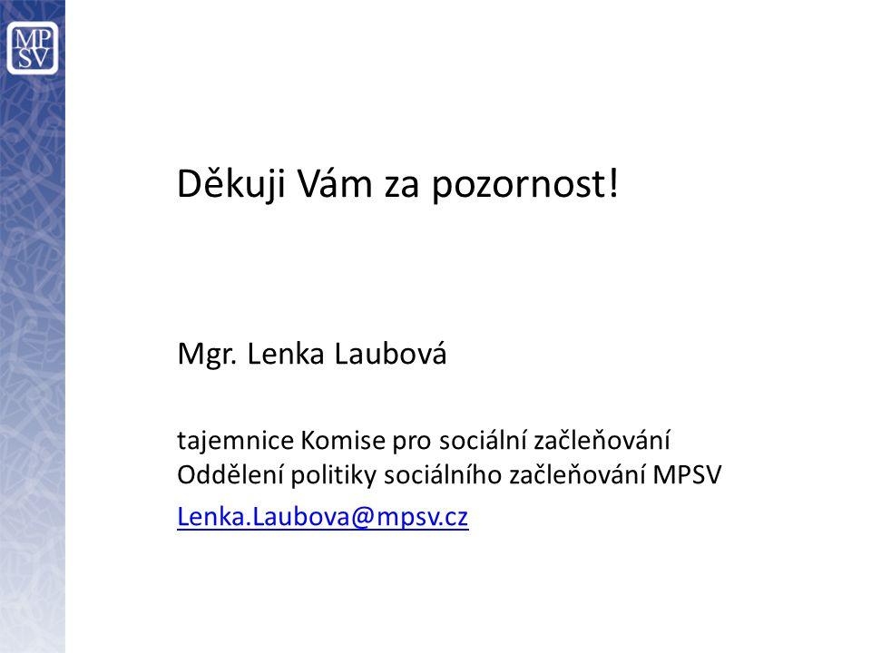 Děkuji Vám za pozornost! Mgr. Lenka Laubová tajemnice Komise pro sociální začleňování Oddělení politiky sociálního začleňování MPSV Lenka.Laubova@mpsv