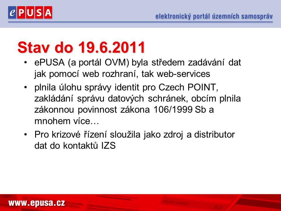 •ePUSA (a portál OVM) byla středem zadávání dat jak pomocí web rozhraní, tak web-services •plnila úlohu správy identit pro Czech POINT, zakládání správu datových schránek, obcím plnila zákonnou povinnost zákona 106/1999 Sb a mnohem více… •Pro krizové řízení sloužila jako zdroj a distributor dat do kontaktů IZS