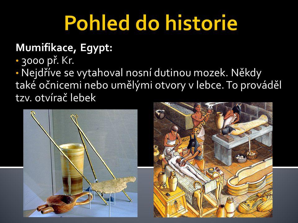 Mumifikace, Egypt: • 3000 př. Kr. • Nejdříve se vytahoval nosní dutinou mozek. Někdy také očnicemi nebo umělými otvory v lebce. To prováděl tzv. otvír
