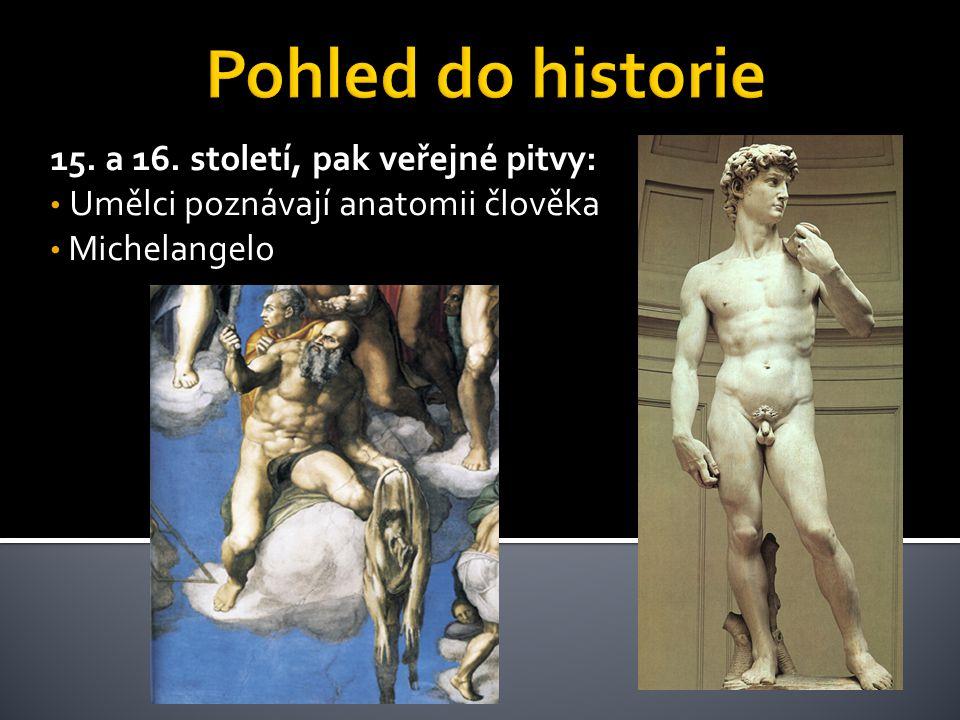 15. a 16. století, pak veřejné pitvy: • Umělci poznávají anatomii člověka • Michelangelo