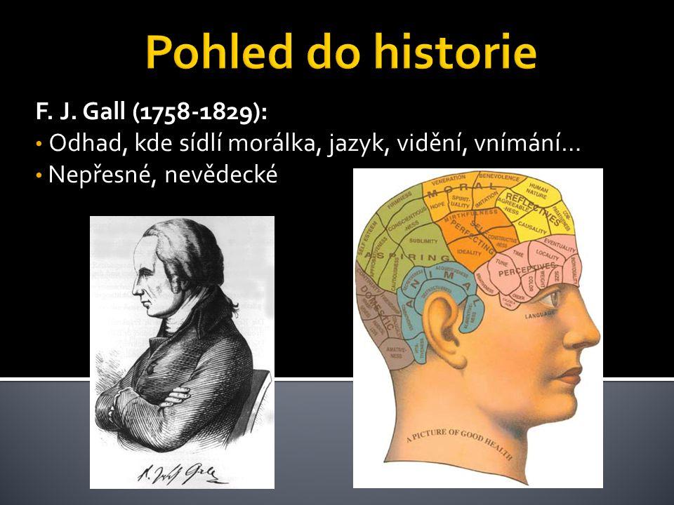 F. J. Gall (1758-1829): • Odhad, kde sídlí morálka, jazyk, vidění, vnímání… • Nepřesné, nevědecké