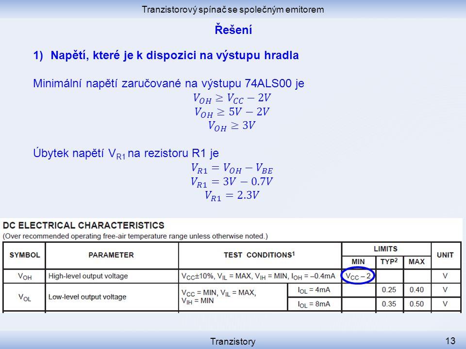 Tranzistorový spínač se společným emitorem Tranzistory 13