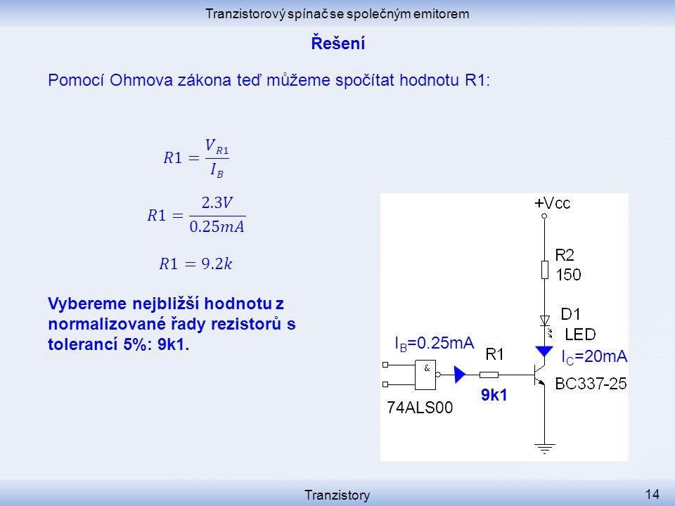 Tranzistorový spínač se společným emitorem Tranzistory 14 I C =20mA I B =0.25mA 74ALS00 Pomocí Ohmova zákona teď můžeme spočítat hodnotu R1: 9k1