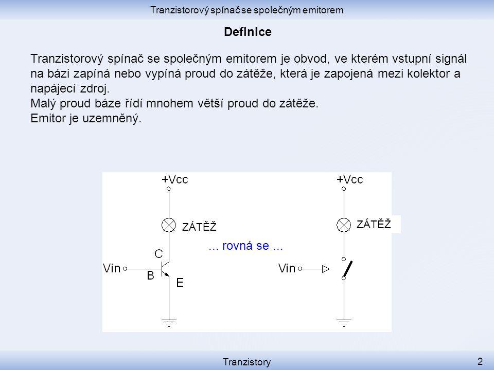 Tranzistorový spínač se společným emitorem je obvod, ve kterém vstupní signál na bázi zapíná nebo vypíná proud do zátěže, která je zapojená mezi kolek
