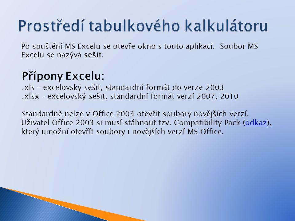 Po spuštění MS Excelu se otevře okno s touto aplikací.