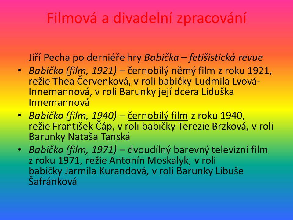 Filmová a divadelní zpracování Jiří Pecha po derniéře hry Babička – fetišistická revue • Babička (film, 1921) – černobílý němý film z roku 1921, režie