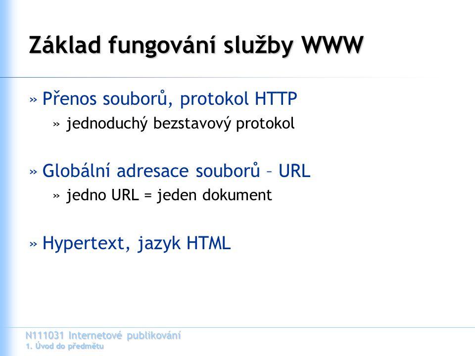 N111031 Internetové publikování 1. Úvod do předmětu Základ fungování služby WWW »Přenos souborů, protokol HTTP »jednoduchý bezstavový protokol »Globál