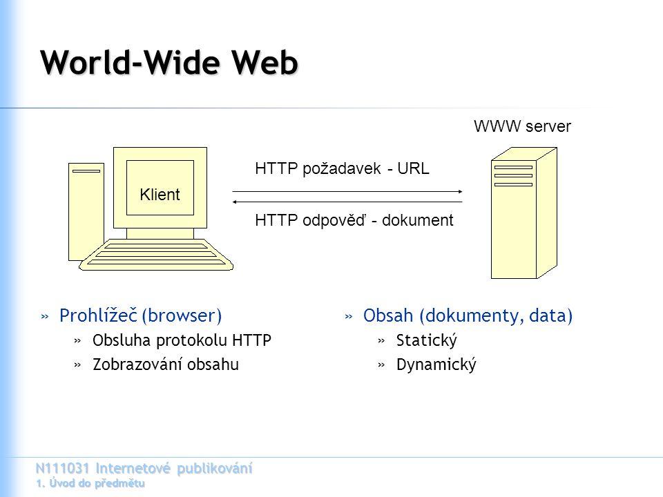 N111031 Internetové publikování 1. Úvod do předmětu World-Wide Web »Prohlížeč (browser) »Obsluha protokolu HTTP »Zobrazování obsahu »Obsah (dokumenty,