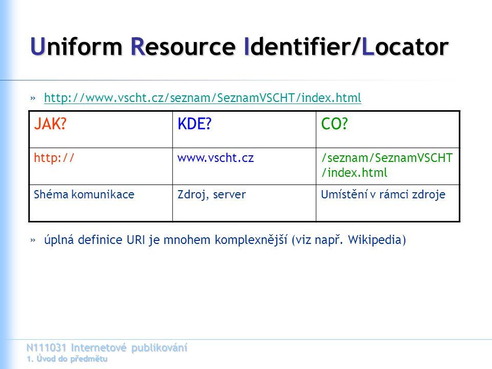 N111031 Internetové publikování 1. Úvod do předmětu Uniform Resource Identifier/Locator »http://www.vscht.cz/seznam/SeznamVSCHT/index.htmlhttp://www.v