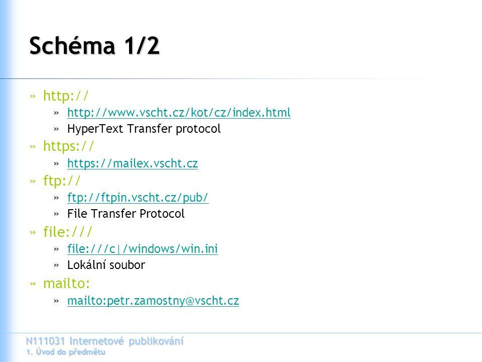 N111031 Internetové publikování 1. Úvod do předmětu Schéma 1/2 »http:// »http://www.vscht.cz/kot/cz/index.htmlhttp://www.vscht.cz/kot/cz/index.html »H
