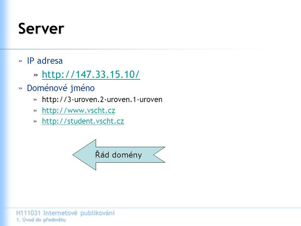 N111031 Internetové publikování 1. Úvod do předmětu Server »IP adresa »http://147.33.15.10/http://147.33.15.10/ »Doménové jméno »http://3-uroven.2-uro