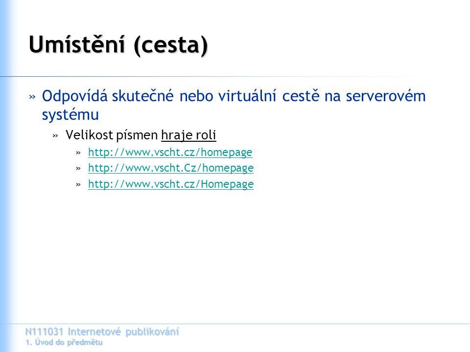 N111031 Internetové publikování 1. Úvod do předmětu Umístění (cesta) »Odpovídá skutečné nebo virtuální cestě na serverovém systému »Velikost písmen hr