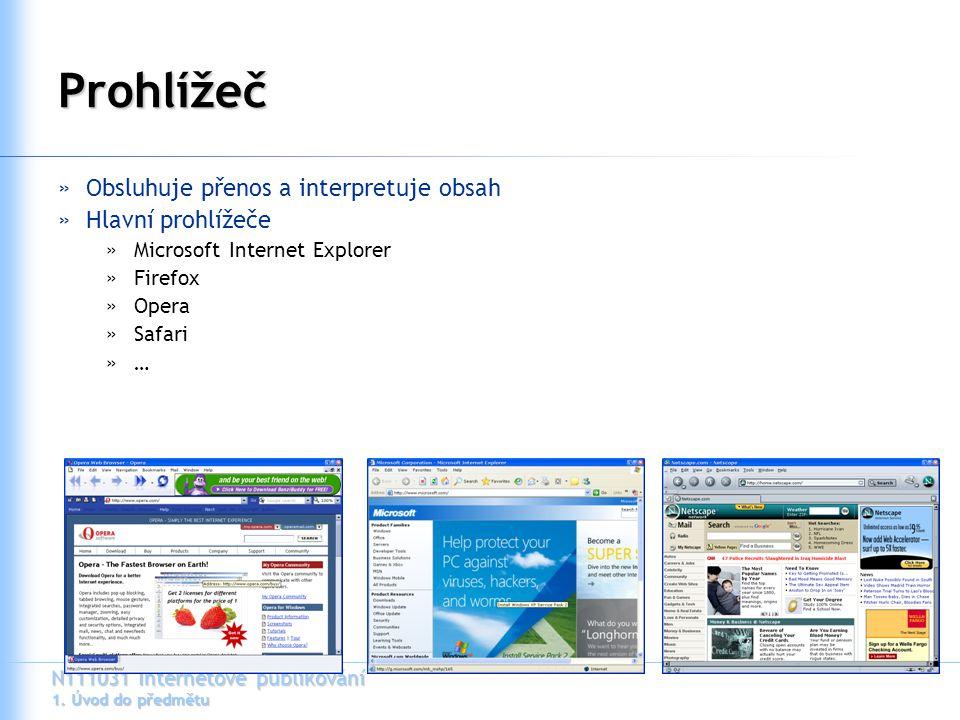 N111031 Internetové publikování 1. Úvod do předmětu Prohlížeč »Obsluhuje přenos a interpretuje obsah »Hlavní prohlížeče »Microsoft Internet Explorer »