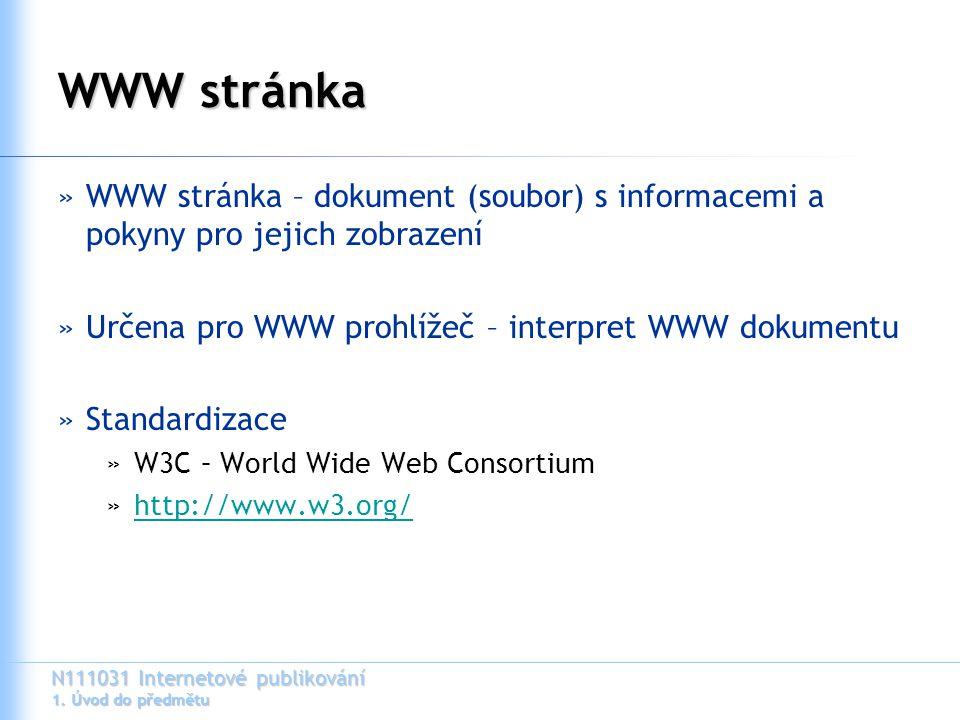N111031 Internetové publikování 1. Úvod do předmětu WWW stránka »WWW stránka – dokument (soubor) s informacemi a pokyny pro jejich zobrazení »Určena p
