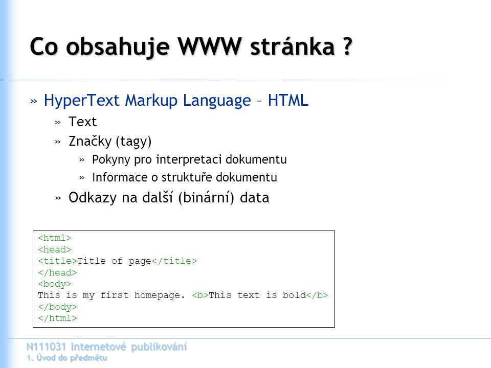 N111031 Internetové publikování 1. Úvod do předmětu Co obsahuje WWW stránka ? »HyperText Markup Language – HTML »Text »Značky (tagy) »Pokyny pro inter