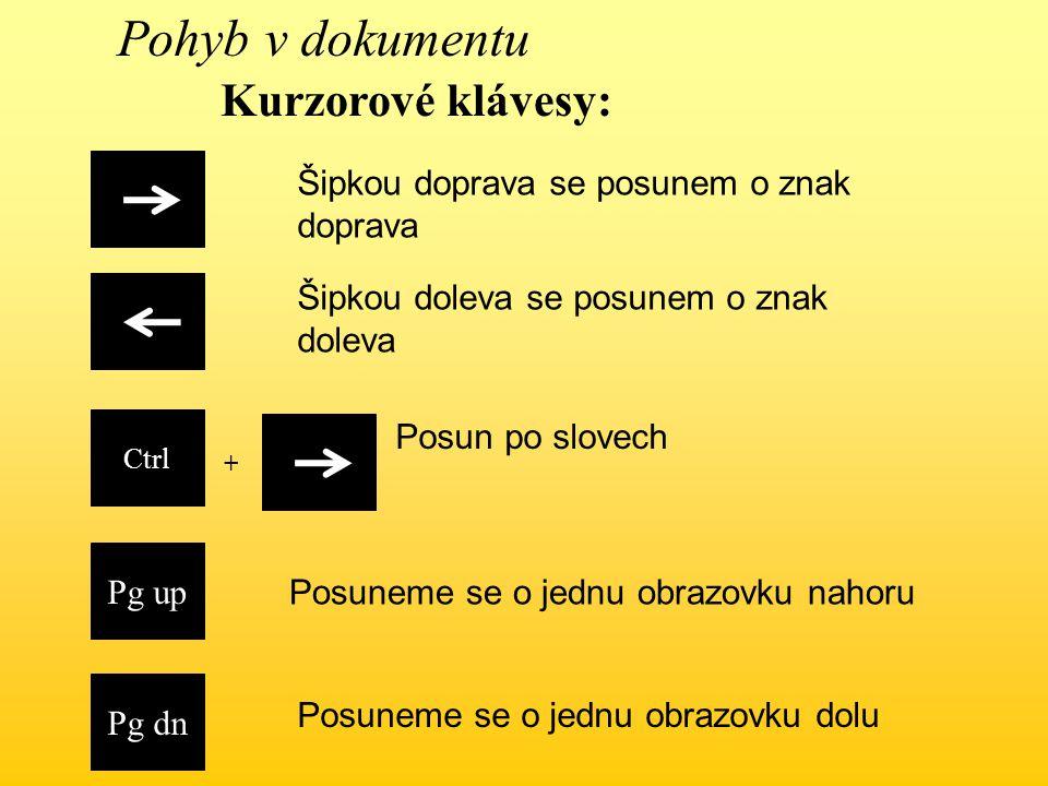 Ctrl Šipkou doleva se posunem o znak doleva Šipkou doprava se posunem o znak doprava Pg up Pg dn Posuneme se o jednu obrazovku nahoru Posuneme se o jednu obrazovku dolu + Kurzorové klávesy: Pohyb v dokumentu Posun po slovech