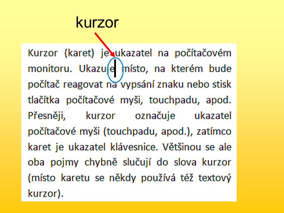 Označování odstavců – třikrát klepněte kamkoliv do odstavce Označování celého textu – najeďte myší před řádek, doleva od něj.