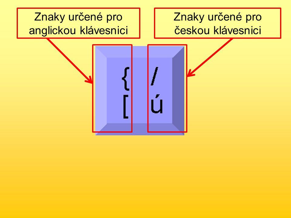 Znaky psané se současným stisknutím klávesy Shift Znaky psané bez stisknutí klávesy Shift