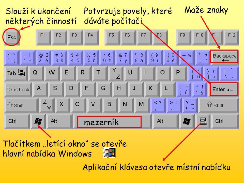 Psaní velkých písmen Šipky slouží k pohybu po obrazovce Ctrl, shift, alt- tyto klávesy se používají většinou současně s jinými Psaní diakritiky – háčky čárky kontrolky Speciální kurzorové klávesy Zapínání nebo vypínání číselné části klávesnice
