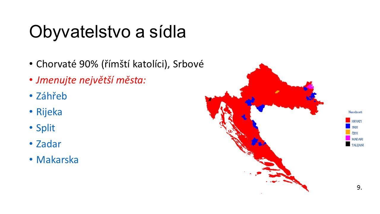 Obyvatelstvo a sídla • Chorvaté 90% (římští katolíci), Srbové • Jmenujte největší města: • Záhřeb • Rijeka • Split • Zadar • Makarska 9.