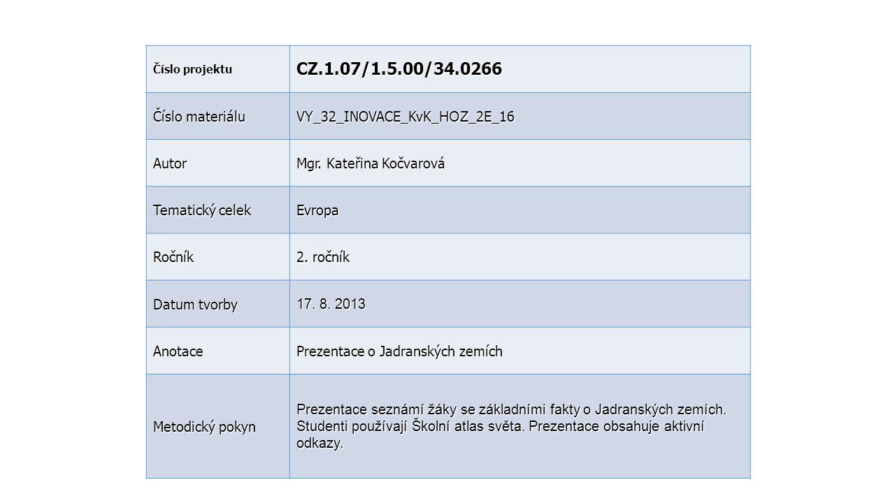 Číslo projektu CZ.1.07/1.5.00/34.0266 Číslo materiálu VY_32_INOVACE_KvK_ HOZ _2E_16 Autor Mgr. Kateřina Kočvarová Tematický celek Evropa Ročník 2. r o