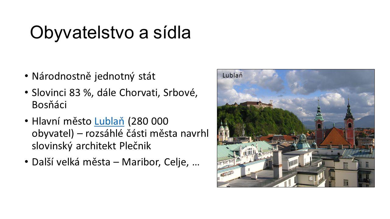Obyvatelstvo a sídla • Národnostně jednotný stát • Slovinci 83 %, dále Chorvati, Srbové, Bosňáci • Hlavní město Lublaň (280 000 obyvatel) – rozsáhlé č