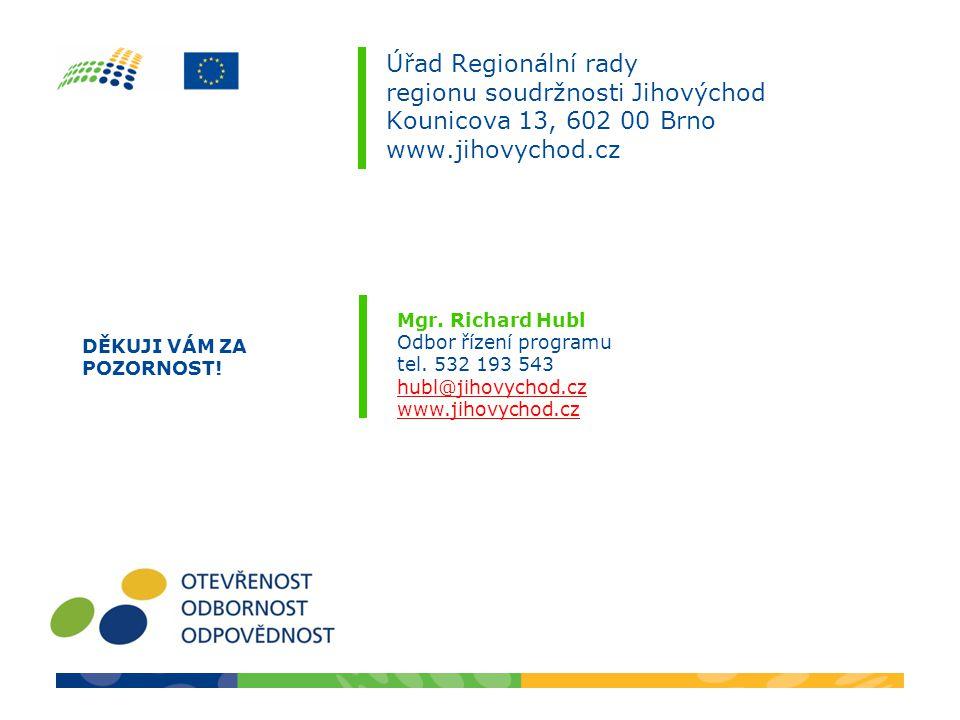 Úřad Regionální rady regionu soudržnosti Jihovýchod Kounicova 13, 602 00 Brno www.jihovychod.cz Mgr. Richard Hubl Odbor řízení programu tel. 532 193 5