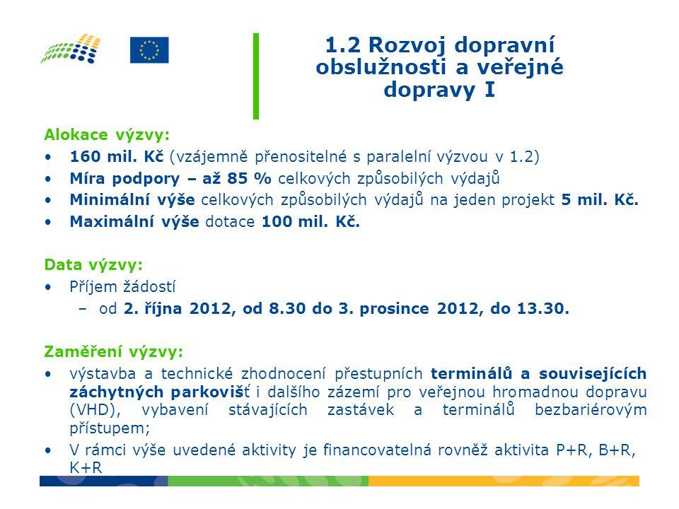 1.2 Rozvoj dopravní obslužnosti a veřejné dopravy I Alokace výzvy: •160 mil.