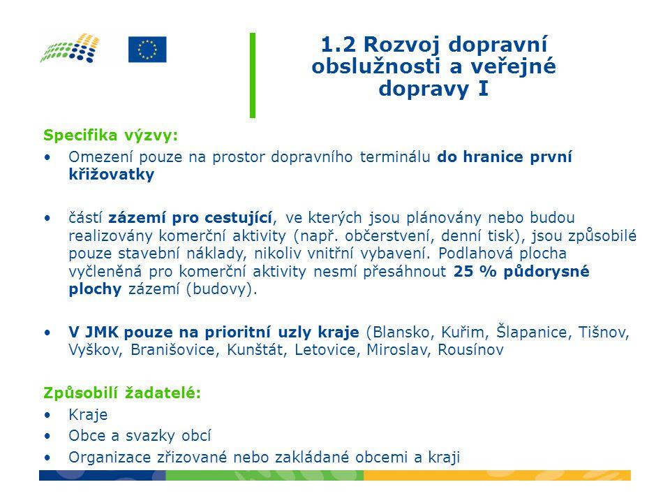 1.2 Rozvoj dopravní obslužnosti a veřejné dopravy I Specifika výzvy: •Omezení pouze na prostor dopravního terminálu do hranice první křižovatky •částí