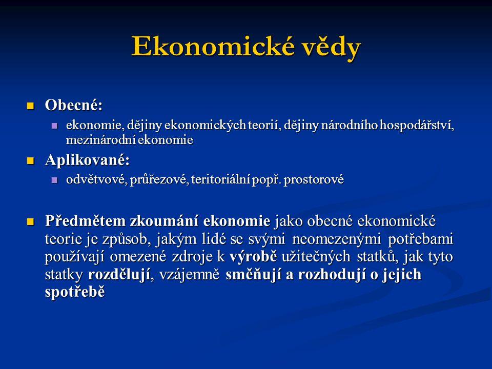 Ekonomické vědy  Obecné:  ekonomie, dějiny ekonomických teorií, dějiny národního hospodářství, mezinárodní ekonomie  Aplikované:  odvětvové, průřezové, teritoriální popř.