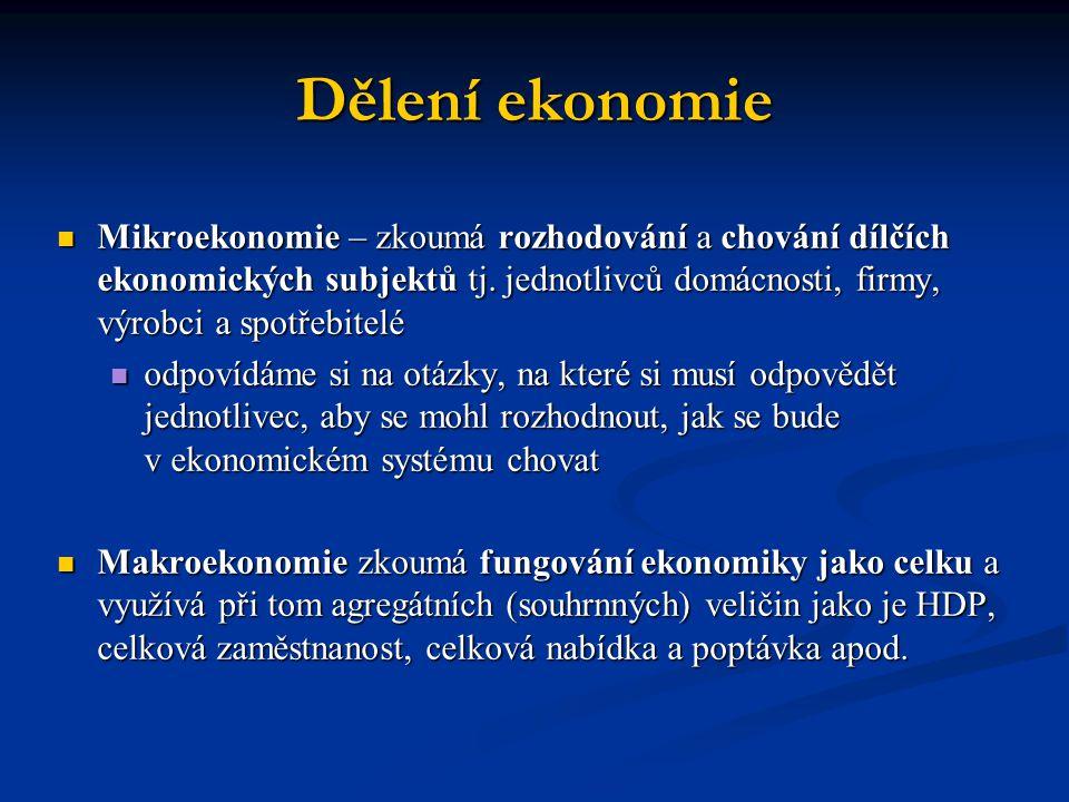 Dělení ekonomie  Mikroekonomie – zkoumá rozhodování a chování dílčích ekonomických subjektů tj.