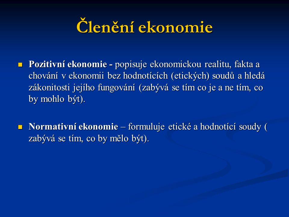 Členění ekonomie  Pozitivní ekonomie - popisuje ekonomickou realitu, fakta a chování v ekonomii bez hodnotících (etických) soudů a hledá zákonitosti jejího fungování (zabývá se tím co je a ne tím, co by mohlo být).