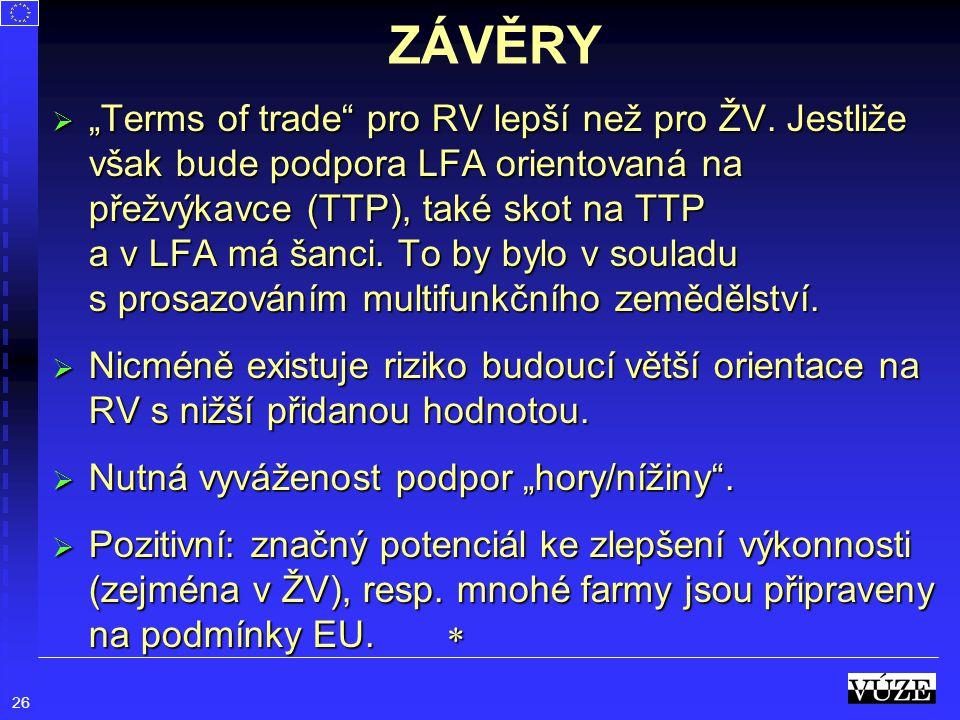 """26 ZÁVĚRY  """"Terms of trade"""" pro RV lepší než pro ŽV. Jestliže však bude podpora LFA orientovaná na přežvýkavce (TTP), také skot na TTP a v LFA má šan"""