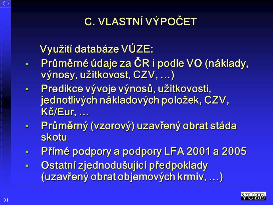 31 C. VLASTNÍ VÝPOČET Využití databáze VÚZE: Využití databáze VÚZE:  Průměrné údaje za ČR i podle VO (náklady, výnosy, užitkovost, CZV, …)  Predikce