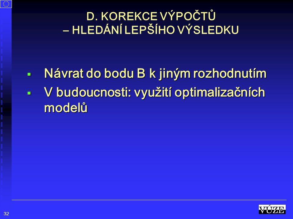 32 D. KOREKCE VÝPOČTŮ – HLEDÁNÍ LEPŠÍHO VÝSLEDKU  Návrat do bodu B k jiným rozhodnutím  V budoucnosti: využití optimalizačních modelů