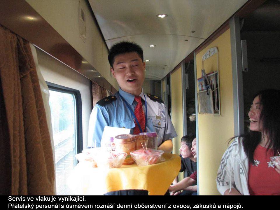 Servis ve vlaku je vynikající. Přátelský personál s úsměvem roznáší denní občerstvení z ovoce, zákusků a nápojů.