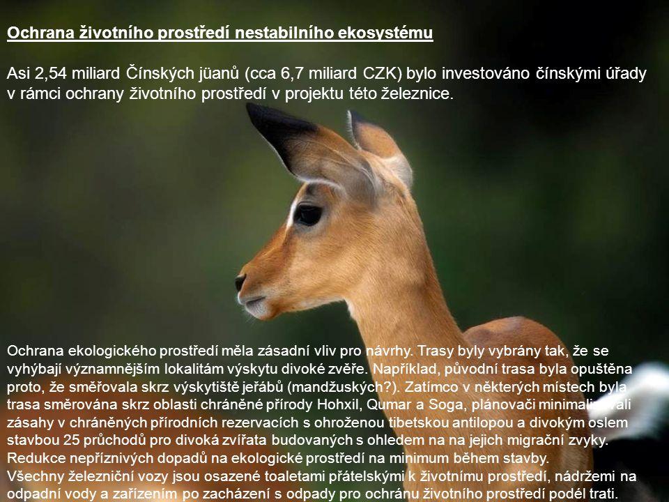 Ochrana životního prostředí nestabilního ekosystému Asi 2,54 miliard Čínských jüanů (cca 6,7 miliard CZK) bylo investováno čínskými úřady v rámci ochr