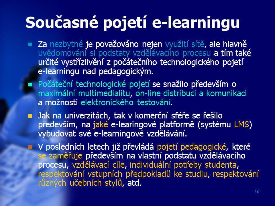 12 Současné pojetí e-learningu  Za nezbytné je považováno nejen využití sítě, ale hlavně uvědomování si podstaty vzdělávacího procesu a tím také urči