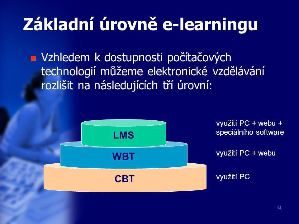 14 Základní úrovně e-learningu CBT WBT LMS využití PC využití PC + webu využití PC + webu + speciálního software  Vzhledem k dostupnosti počítačových